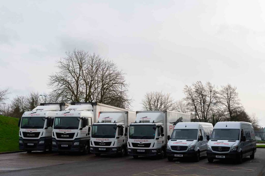 A selection of the Panther Logistics lorries and vans lined up